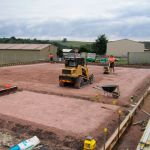 Preparing large base for concreting